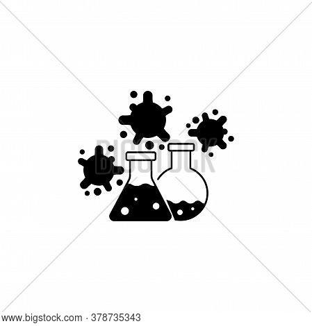 Virus, Bacteria And Flask, Bulb Icon, Symbol, Sign. Coronavirus, Covid-19 Icon, Logo Black On White