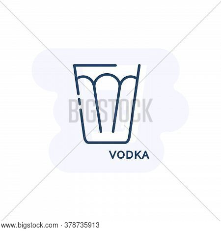 Wineglass Vodka Line Art In Flat Style. Isolated On Colored Shape As Background. Restaurant Alcoholi