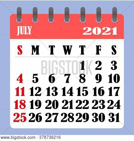 Letter Calendar For July 2021. The Week Begins On Sunday. Time, Planning And Schedule Concept. Flat
