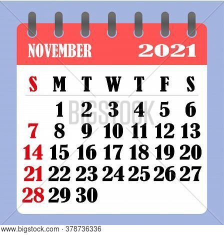 Letter Calendar For November 2021. The Week Begins On Sunday. Time, Planning And Schedule Concept. F
