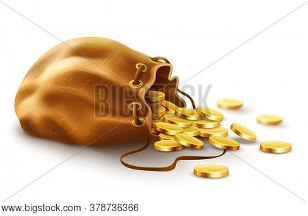Old textile sack purse filled gold coins money spilled from open vintage with lace, isolated white background. 3D illustration.