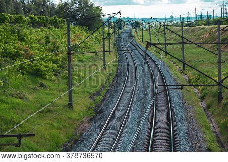 Railroad Tracks. Two Railway Tracks. Railroad Tracks.
