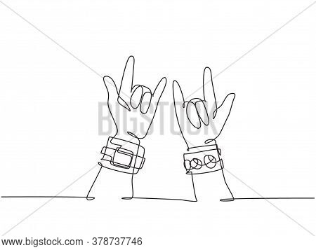Single Continuous Line Drawing Of Rocker Showing Hand Gesture Of Rock Music. Modern Musician Artist