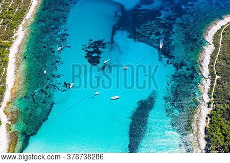 Beautiful Adriatic Sea In Croatia. Aerial View Of Azure Turquoise Lagoon On Sakarun Beach On Dugi Ot
