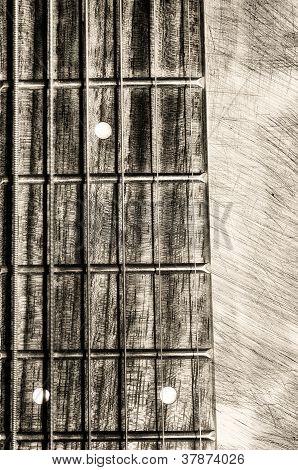 Guitar Neck Fingerboard On Textured Background