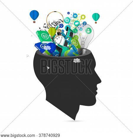 Human Brain. Creative Mind Concept. Genius. Vector Illustration