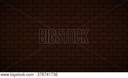Empty Brick Wall With Orange Neon Light Dim With Copy Space. Lighting Effect Orange Color Glow On Br