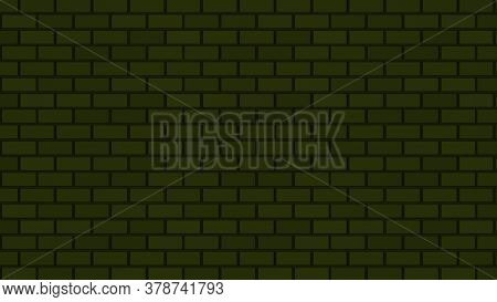 Empty Brick Wall With Yellow Neon Light Dim With Copy Space. Lighting Effect Yellow Color Glow On Br
