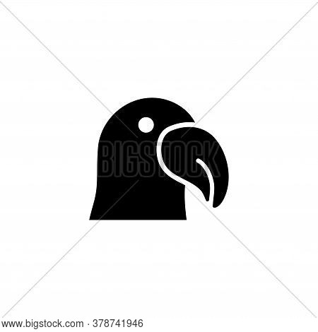 Dodo Bird Silhouette, Parrot Cockatoo. Flat Vector Icon Illustration. Simple Black Symbol On White B