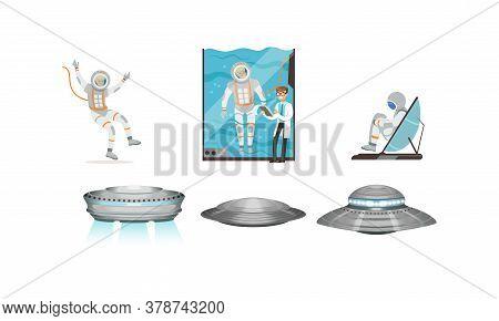 Space Mission Preparing And Ufo Spaceships Set, Male Astronaut Training Vestibular Apparatus On Simu