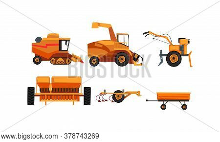 Agricultural Machinery Set, Farm Vehicles For Land Agricultural Processing Flat Style Vector Illustr
