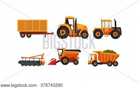 Agricultural Machinery Set, Modern Farm Vehicles For Land Agricultural Processing, Tractor, Plow, Tr