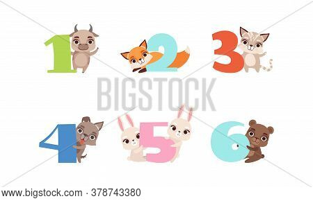 Anniversary Numbers With Cute Animals Set, Bull, Fox, Kitten, Puppy, Bunny, Bear Cartoon Style Vecto