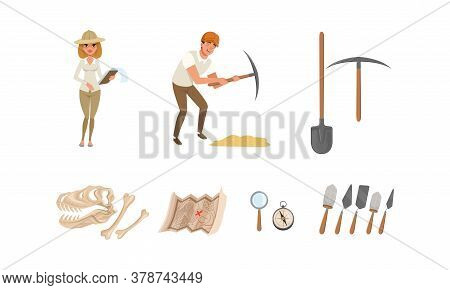 Archaeologists Working On Excavations, Paleontology Scientists With Professional Equipment Set Carto