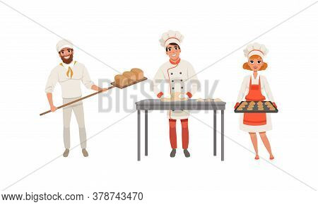 Bakers Characters Set, Cheerful People In Uniform Baking Bread And Confectionery Products Cartoon St