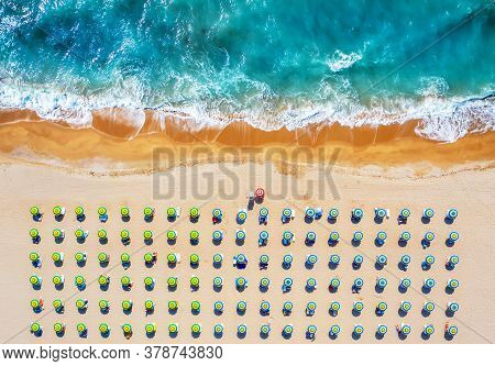 Tropical Beach With Colorful Umbrellas. Picture With Drone!