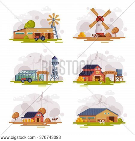 Farm Scenes Set, Country Buildings And Objects At Rural Landscape, Agriculture And Farming Concept C