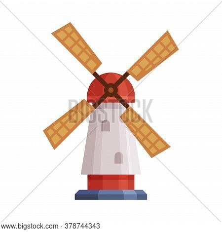 Windmill Traditional Rural Building Cartoon Vector Illustration On White Background.