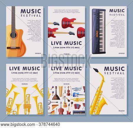 Live Music Festival Banner Tempates Set, Advertisement Poster, Brochure, Flyer, Invitation Card With