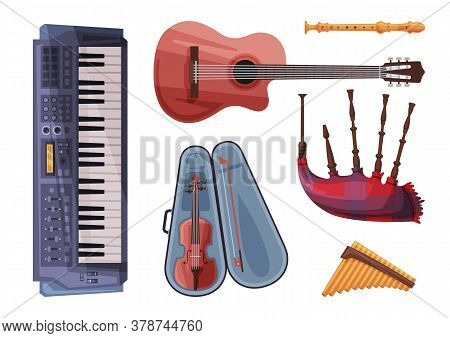 Musical Instruments Set, Harmonica, Flute, Violin In Case, Bagpipe, Clarinet, Synthesizer Flat Style