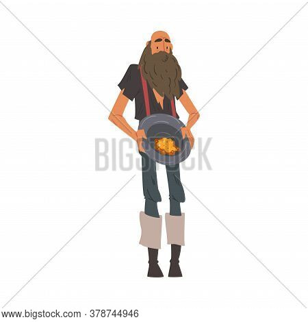 Male Prospector, Bearded Gold Miner Character Wearing Vintage Clothes Holding Golden Sand And Prills