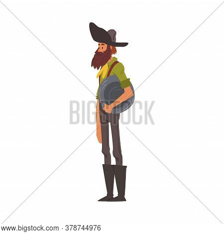 Male Prospector With Pan, Mature Bearded Gold Miner Character Wearing Vintage Clothes Cartoon Style