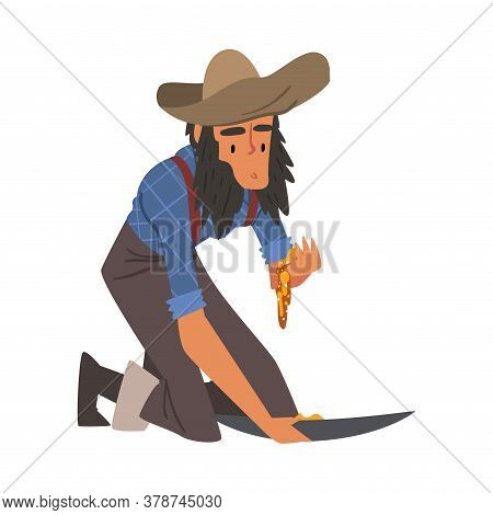 Male Prospector, Bearded Gold Miner Character Wearing Vintage Clothes Panning Golden Sand And Pills
