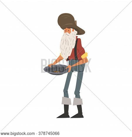 Male Prospector Holding Pan With Golden Sand And Pills, Mature Bearded Gold Miner Wild West Characte