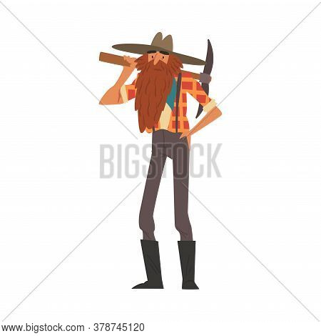 Male Prospector Standing With Pickaxe, Bearded Gold Miner Character Wearing Vintage Clothes Cartoon
