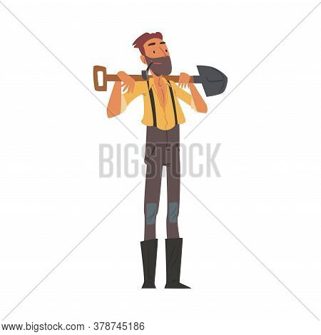 Male Prospector Standing With Shovel, Bearded Gold Miner Wild West Character Wearing Vintage Clothes
