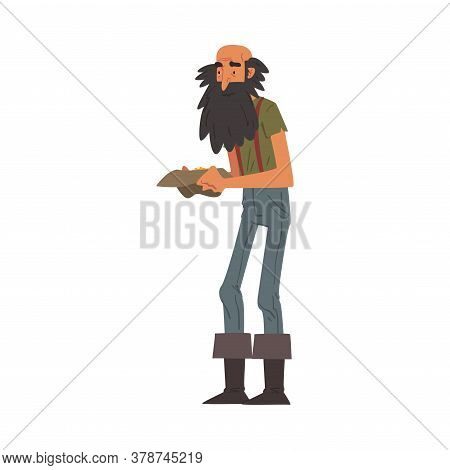 Male Prospector Holding Hat Full Of Golden Sand And Prills, Bearded Gold Miner Wild West Character W