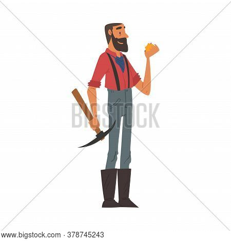Male Prospector With Pickaxe, Bearded Gold Miner Wild West Character Wearing Vintage Clothes Cartoon