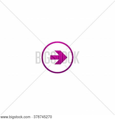 Purple Right Arrow In Circle. Flat Icon Isolated On White. Continue Icon.