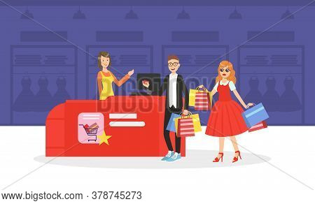 Young Man And Woman Taking Part In Seasonal Sale At Store Or Mall, Couple Carrying Shopping Bags Wit