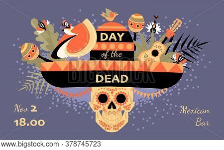 Day Of The Dead Invitation Banner With Decorated Skull, Hat, Dancer In Traditional Mexican Dress And