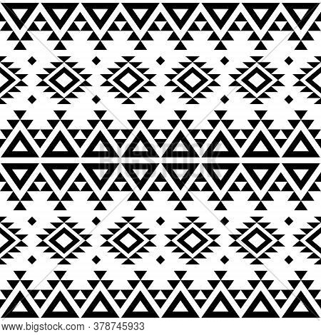 Aztec Navajo Geometric Seamless Vector Pattern, Retro Tribal Repetitive Design In Black Pattern On W