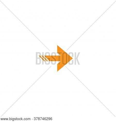 Orange Right Sharp Arrow Icon. Isolated On White. Continue Icon.