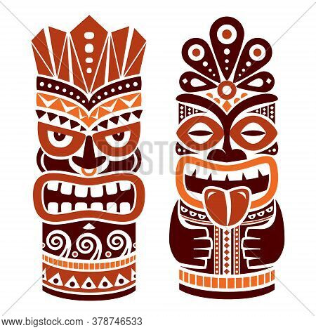 Tiki Pole Totem Vector Design In Brown - Traditional Statue Decor Set From Polynesia And Hawaii, Tri