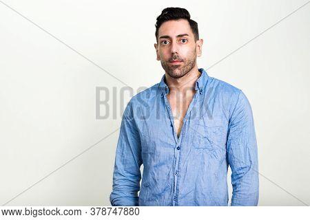 Portrait Of Handsome Businessman With Beard Stubble