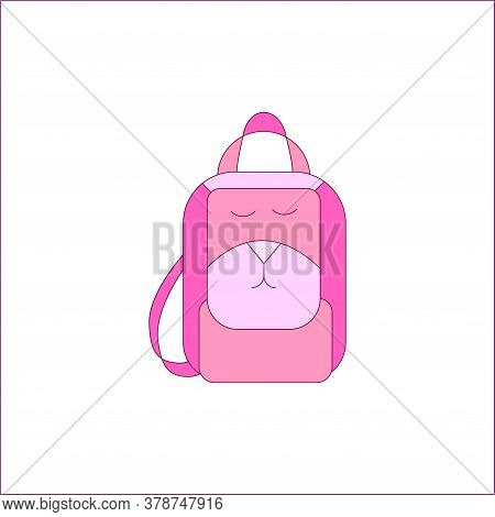 School Backpack With A Smile In Pink. Vector Illustration Isolated On A White Background. Childrens,