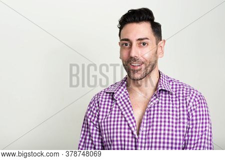 Portrait Of Happy Handsome Hipster Man With Beard Stubble