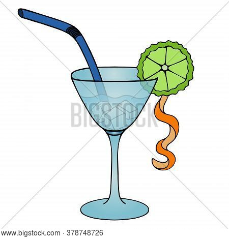 Refreshing Cocktail. Martini With Ice Cubes. Colored Vector Illustration. Isolated White Background.
