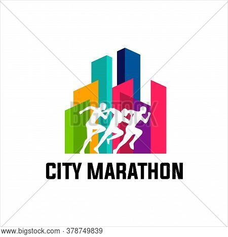 Running Marathon In City, Icon And Symbol With Ribbon, Run Logo Design Vector Stock Symbol .running