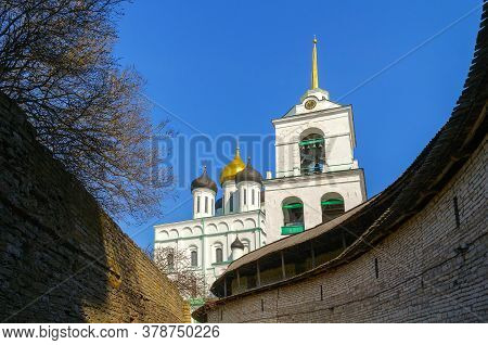 Pskov, Russia. Trinity Cathedral And The Territory Of Pskov Kremlin Or Krom, Russia. Landmarks Of Ps