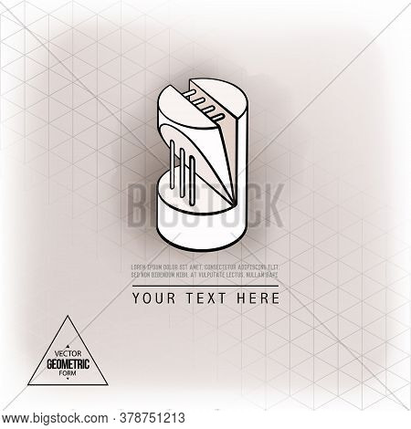 Vector Abstract Geometric Figure Cylinder Logo Design