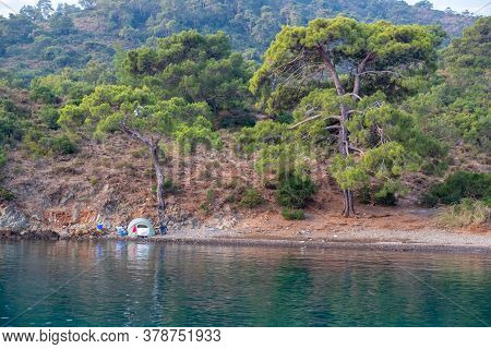 Tent In The Forest Near The Sea