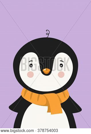 Cute Penguin In Scarf. Poster For Baby Room. Childish Print For Nursery. Design Can Be Used For Kids