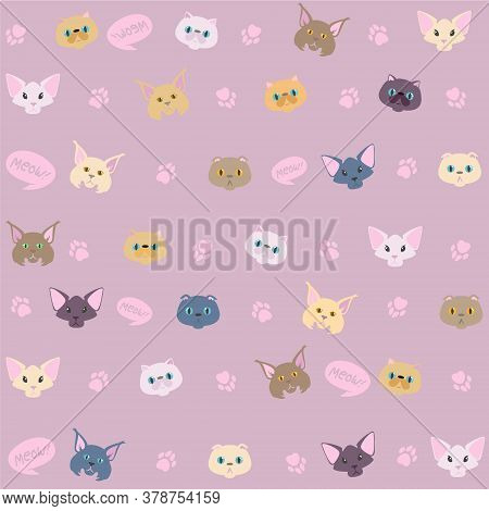 Cute Cats Pattern. Nice Vector Pattern With Cat Faces. Pink Background With Cat Pows. Different Cat