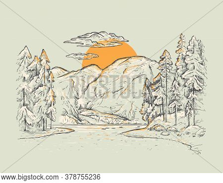 Braies Lake (lago Di Braies). Dolomites, South Tyrol, Italy. Romantic Nature Landscape. Vector Sketc