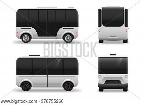 Driverless Electric Future Transport. Futuristic Autonomous Driverless Mini Bus. Autonomous Vehicle